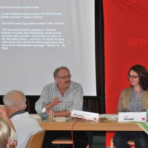Prof. Huster und Lisa Gnadl beim Ranstädter Gespräch